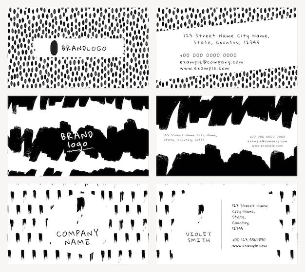 Bearbeitbarer vorlagenvektor der visitenkarte mit tintenbürstenmustersatz