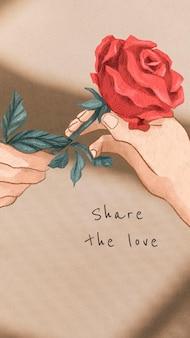 Bearbeitbarer vorlagenvektor zum valentinstag teilen sie den mobilen sperrbildschirm der liebe