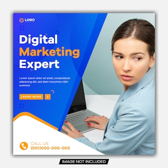 Bearbeitbares banner für social media post, web und internet. agentur für digitales marketing