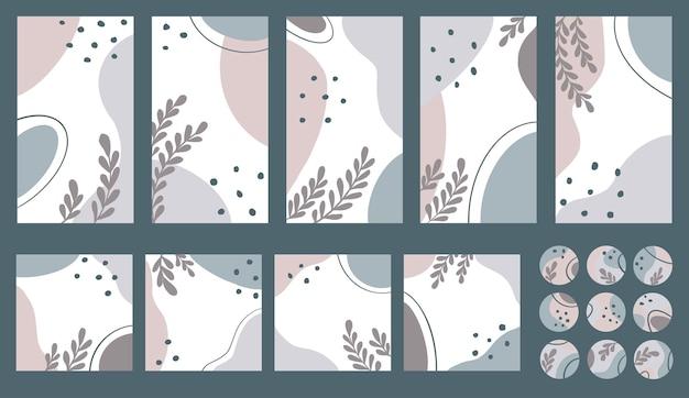 Bearbeitbares set mit vorlage für social media story und posts. abstrakte flecken im stil der mitte des jahrhunderts mit zweigen in quadratischen und runden formen