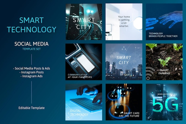 Bearbeitbares template-vektor-social-media-set mit intelligenter technologie
