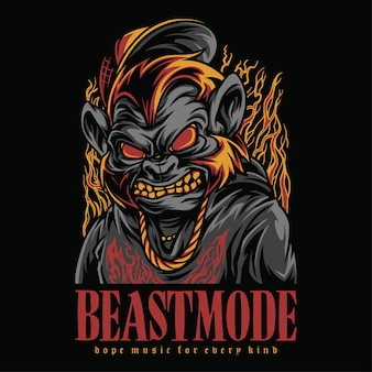 Beast mode hiphop style illustration