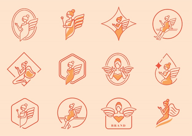 Beauty angel logo mit flügelsatz