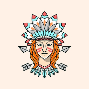 Beauty apache girl illustration