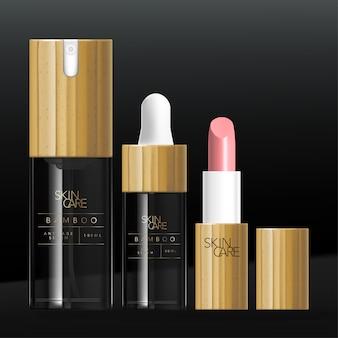Beauty bambus oder holz verpackungsset mit serum pump flasche, tropfflasche & lippenstift tube. glänzendes transparentes getöntes schwarzes glas oder kunststoff.