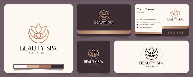Beauty-blume, lotus, spa, balance, visitenkarte und logo-design