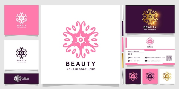 Beauty-, blumen-, boutique- oder ornament-logo-vorlage mit visitenkartendesign. kann spa-, salon-, beauty- oder boutique-logo-design verwendet werden.