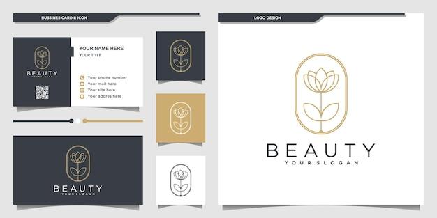Beauty-blumen-logo mit einzigartigem beauty-line-art-stil und visitenkartendesign premium-vektor