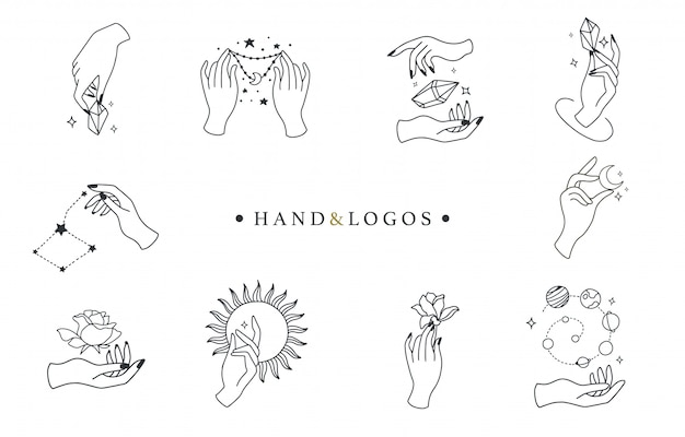Beauty boho kollektion mit hand, rose, kristall, sonne, mond, stern.