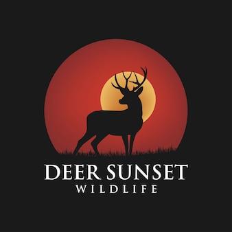 Beauty deer buck hirsch silhouette sunset logo design inspiration
