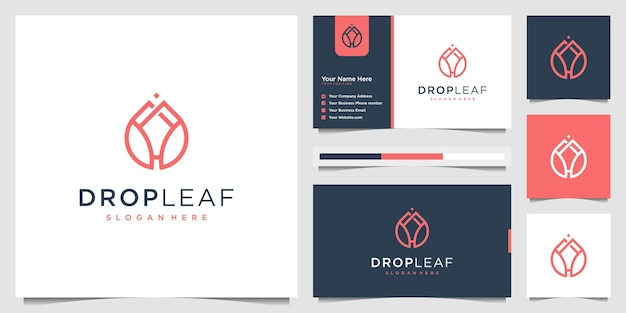 Beauty drop leaf luxus logo öl mit leaf liner konzept. logo-design und visitenkarte.