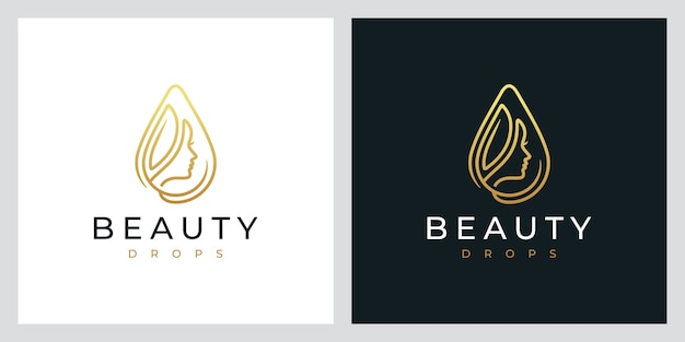 Beauty drops, natürliches spa, kosmetik, logo-design-inspiration