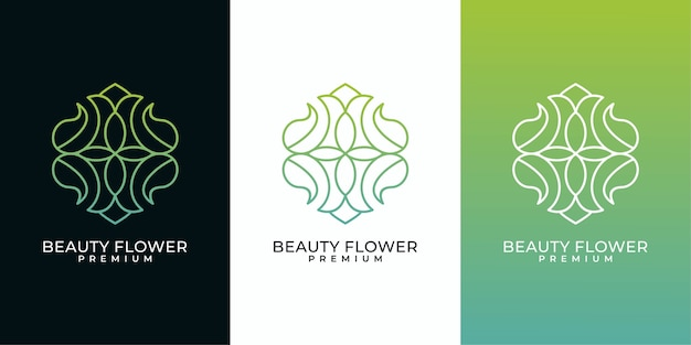 Beauty flower line art logo design