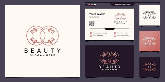 Beauty flower rose infinity logo mit einzigartigem strichzeichnungsstil und visitenkartendesign premium-vektor