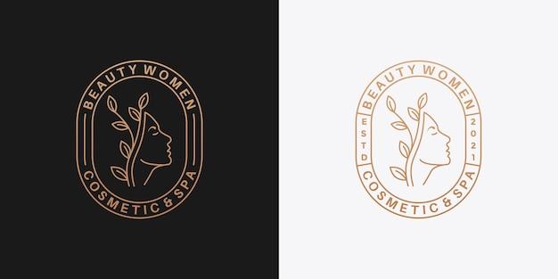 Beauty frauen logo design abzeichen retro für ihren salon, kosmetik, spa