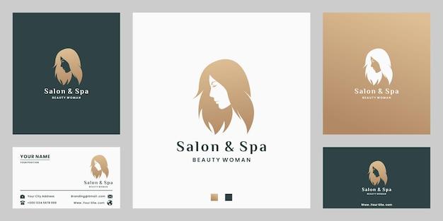 Beauty-frauen-logo-design für salon, spa mit farbverlauf