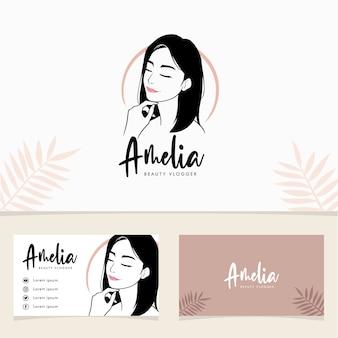 Beauty-frauenlogo mit corporate identity