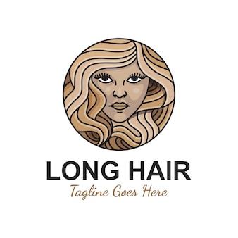 Beauty girl langes haar für salon oder kosmetikprodukt ihre geschäftslogoillustrationsprämienschablone