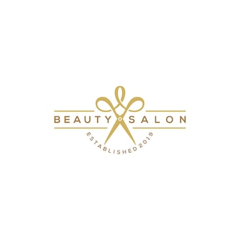Beauty-haircut-salon-logo mit einer schere