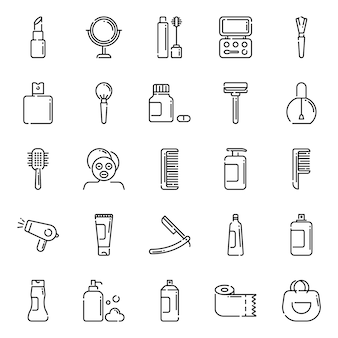 Beauty-icon-pack, mit umriss-icon-stil