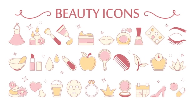 Beauty-icon-set. sammlung von kosmetik und haut
