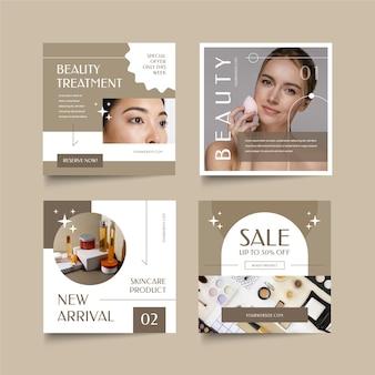 Beauty instagram post set flaches design