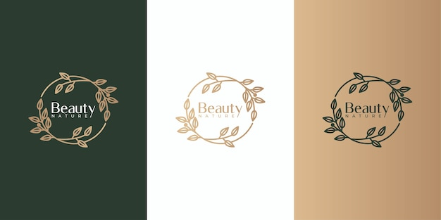 Beauty leaf frame logo design set