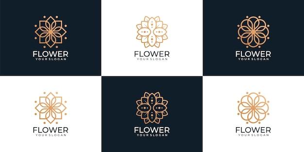 Beauty-logo-kollektion mit floralen ornamenten für spa
