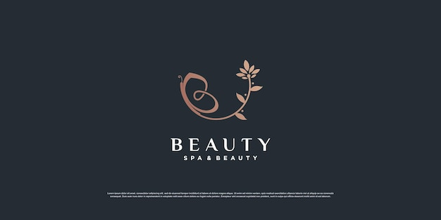 Beauty logoinspiration mit schmetterling und blattkonzept premium-vektor