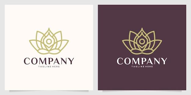 Beauty lotus yoga linie kunst logo design