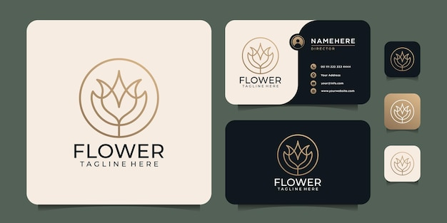 Beauty luxus-monogramm feminine linie blumenlogo spa lotus-elemente