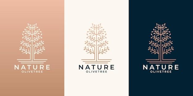 Beauty-natur-olivenbaum-logo-design-set für ihren geschäftssalon, kosmetik, spa, gesundheit