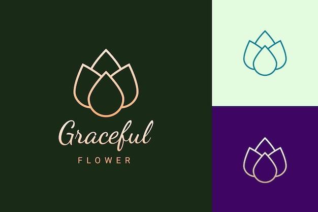 Beauty- oder spa-logo in luxuriöser und einfacher blumenform