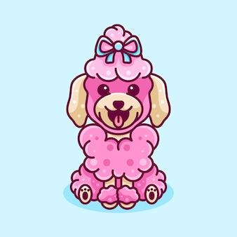 Beauty poodle hund für charaktericon logo-aufkleber und illustration