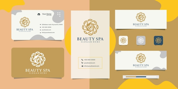 Beauty-premium-blumendesign-logo mit frau und visitenkarte