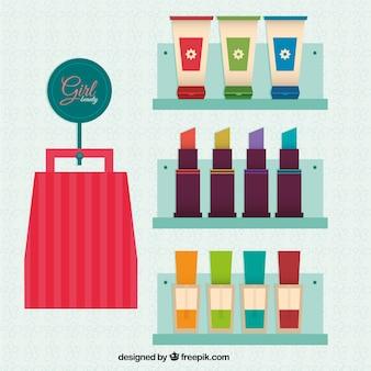 Beauty-produkte in flacher bauform