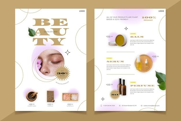 Beauty-produktkatalog mit farbverlauf und foto