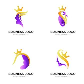 Beauty queen logo, frau und krone, kombination mit 3d lila und gold stil Premium Vektoren