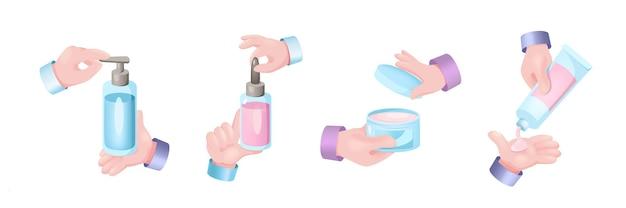 Beauty-routine-grafikkonzept hände eingestellt. menschliche hände, die flaschen mit reinigungsgel, cremes und hautpflegeprodukten halten. hygieneverfahren für frauen. vektor-illustration mit realistischen 3d-objekten
