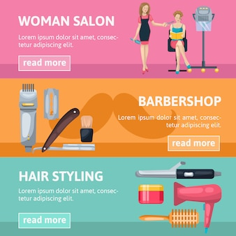 Beauty salon banner set