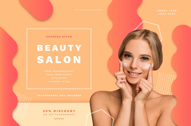 Beauty-salon-banner-vorlage mit sonderangeboten