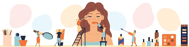 Beauty salon concept.tiny charaktere machen make-up für frau schaufensterpuppe.