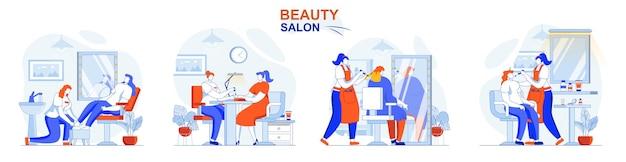 Beauty-salon-konzept-set haarfärbeprofi make-up maniküre pediküre