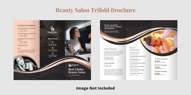 Beauty salon trifold broschüren vorlage