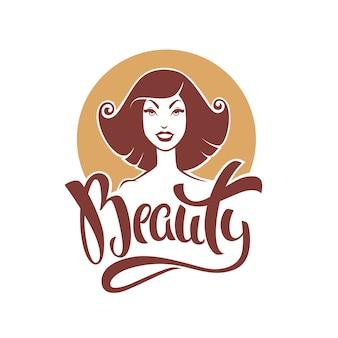 Beauty-schriftzug-komposition und retro-pinup-girl für ihr logo oder etikettendesign