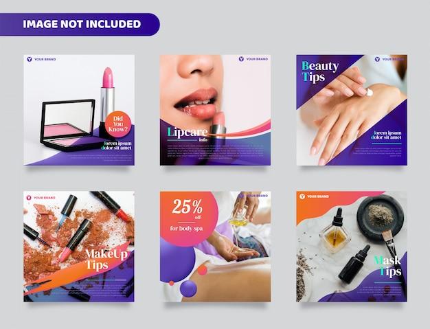 Beauty social media beitrag, quadratischer flyer oder banner