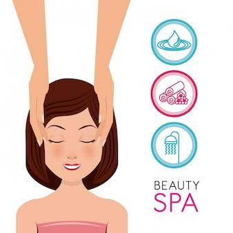 Beauty spa set flache ikonen