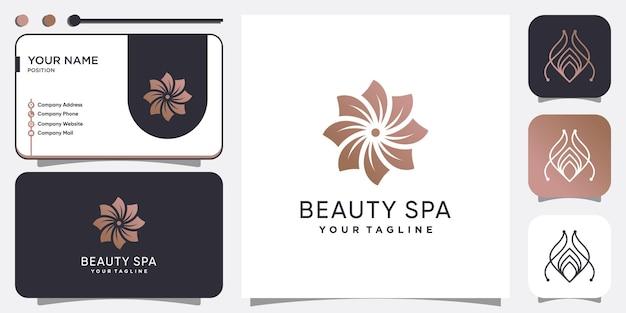 Beauty- und spa-logo-konzept mit kreativem stil premium-vektor