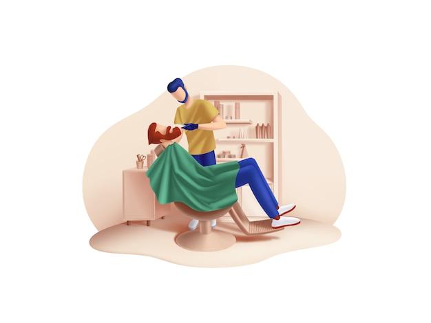 Beauty- und spa-serie: barbershop master works illustration