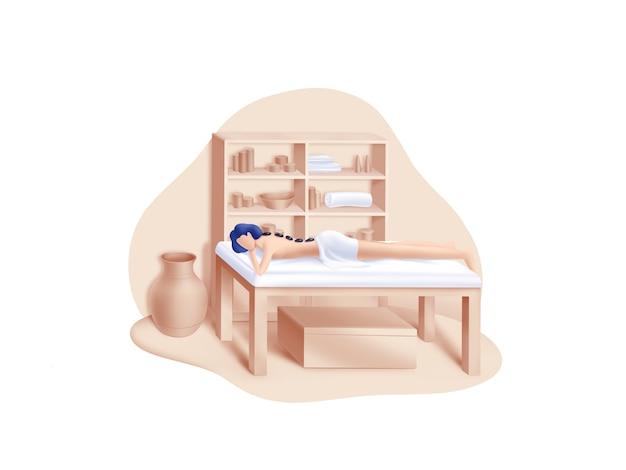 Beauty- und spa-serie: hot stones massage illustration